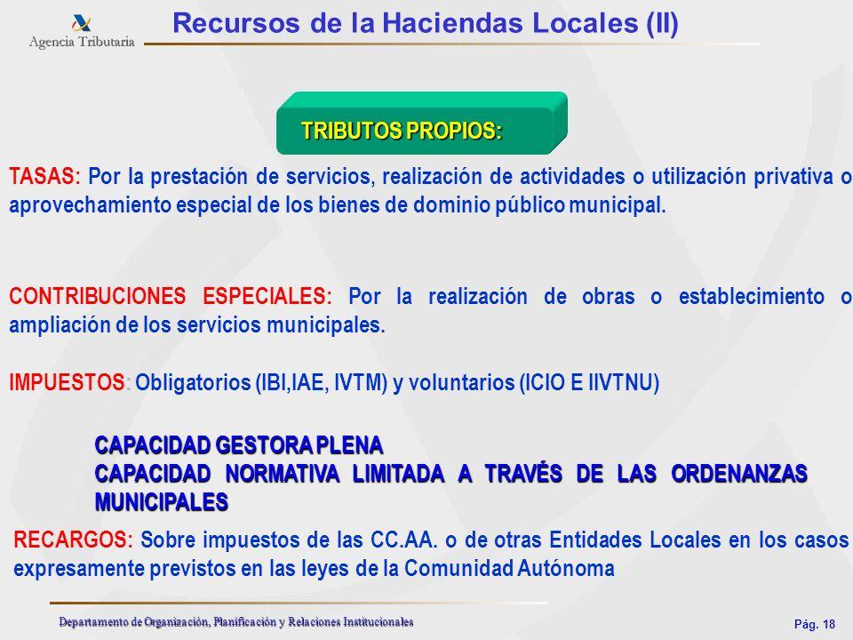 Pág. 18 Departamento de Organización, Planificación y Relaciones Institucionales Recursos de la Haciendas Locales (II) TRIBUTOS PROPIOS: TRIBUTOS PROP