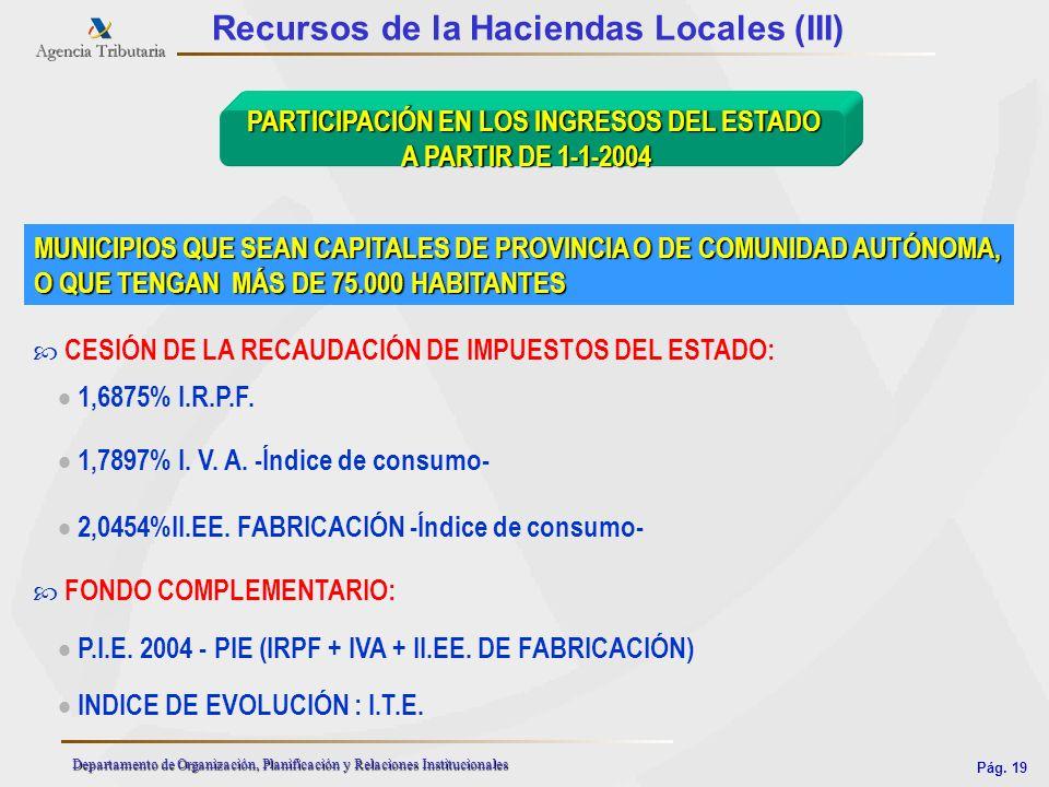 Pág. 19 Departamento de Organización, Planificación y Relaciones Institucionales Recursos de la Haciendas Locales (III) MUNICIPIOS QUE SEAN CAPITALES