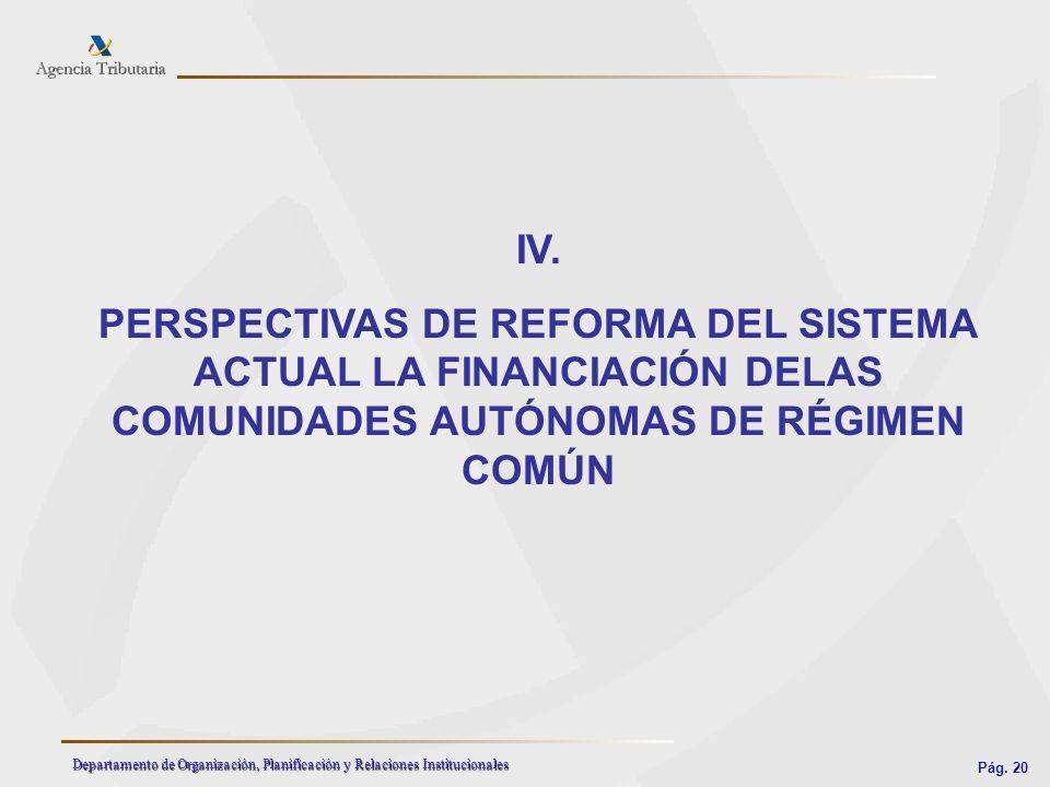 Pág. 20 Departamento de Organización, Planificación y Relaciones Institucionales IV. PERSPECTIVAS DE REFORMA DEL SISTEMA ACTUAL LA FINANCIACIÓN DELAS