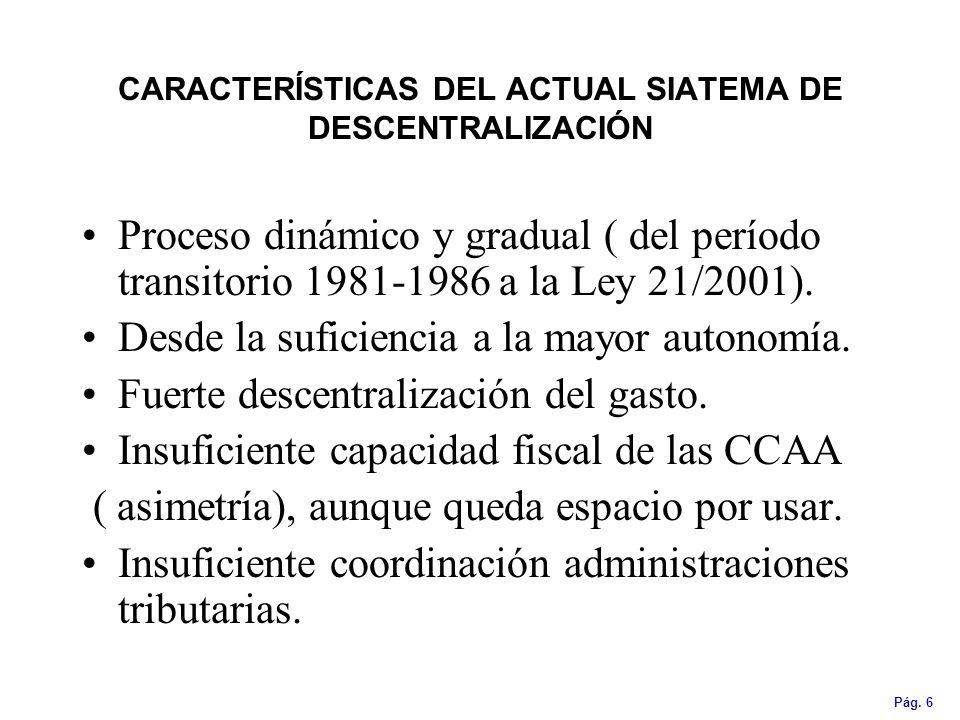Pág. 6 CARACTERÍSTICAS DEL ACTUAL SIATEMA DE DESCENTRALIZACIÓN Proceso dinámico y gradual ( del período transitorio 1981-1986 a la Ley 21/2001). Desde