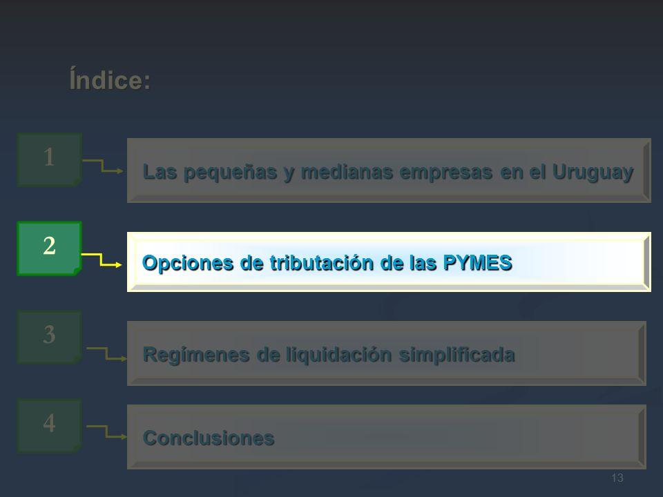 13 Las pequeñas y medianas empresas en el Uruguay 1 Índice: Índice: 3 Regímenes de liquidación simplificada 4 Conclusiones Opciones de tributación de