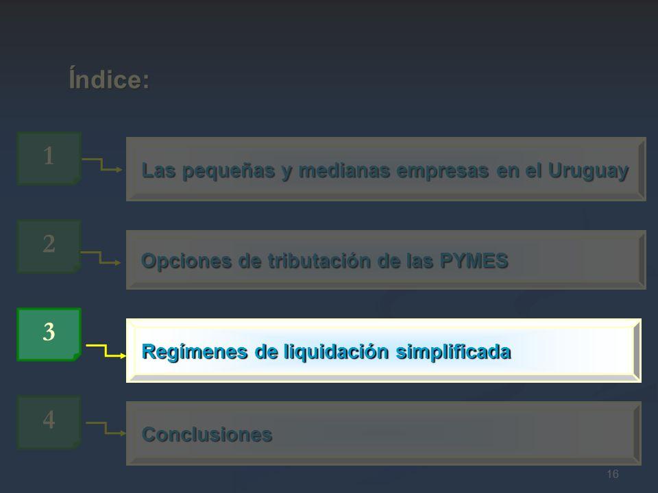 16 Opciones de tributación de las PYMES 2 Las pequeñas y medianas empresas en el Uruguay 1 Índice: Índice: 4 Conclusiones 3 Regímenes de liquidación s