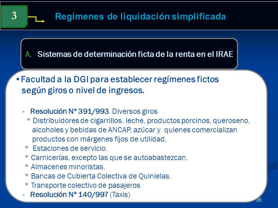 20 Regímenes de liquidación simplificada Facultad a la DGI para establecer regímenes fictos según giros o nivel de ingresos. - Resolución Nº 391/993.
