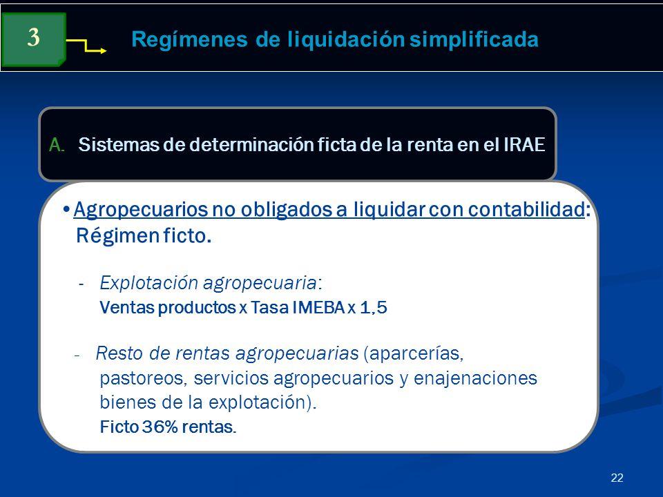 22 Regímenes de liquidación simplificada Agropecuarios no obligados a liquidar con contabilidad: Régimen ficto. - Explotación agropecuaria: Ventas pro