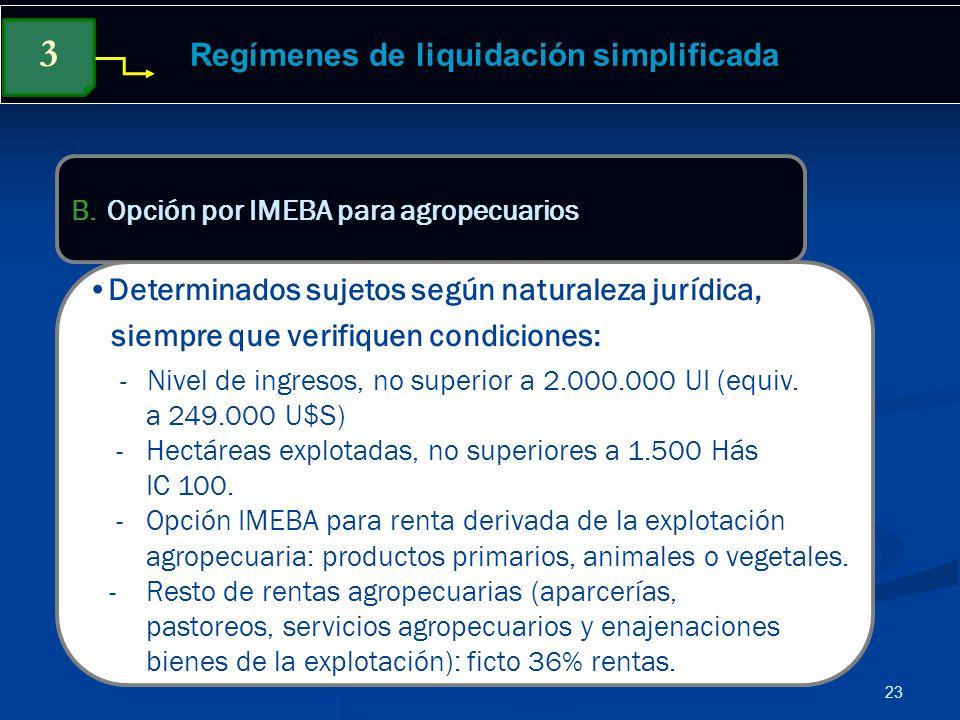 23 Regímenes de liquidación simplificada Determinados sujetos según naturaleza jurídica, siempre que verifiquen condiciones: - Nivel de ingresos, no s