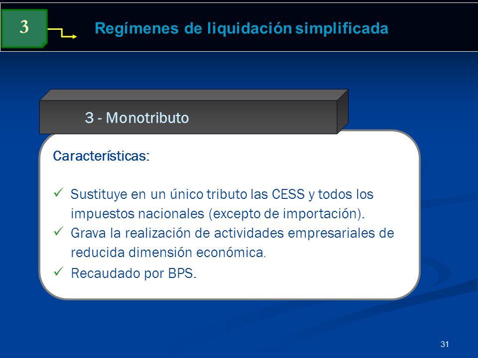 31 Regímenes de liquidación simplificada Características: Sustituye en un único tributo las CESS y todos los impuestos nacionales (excepto de importac