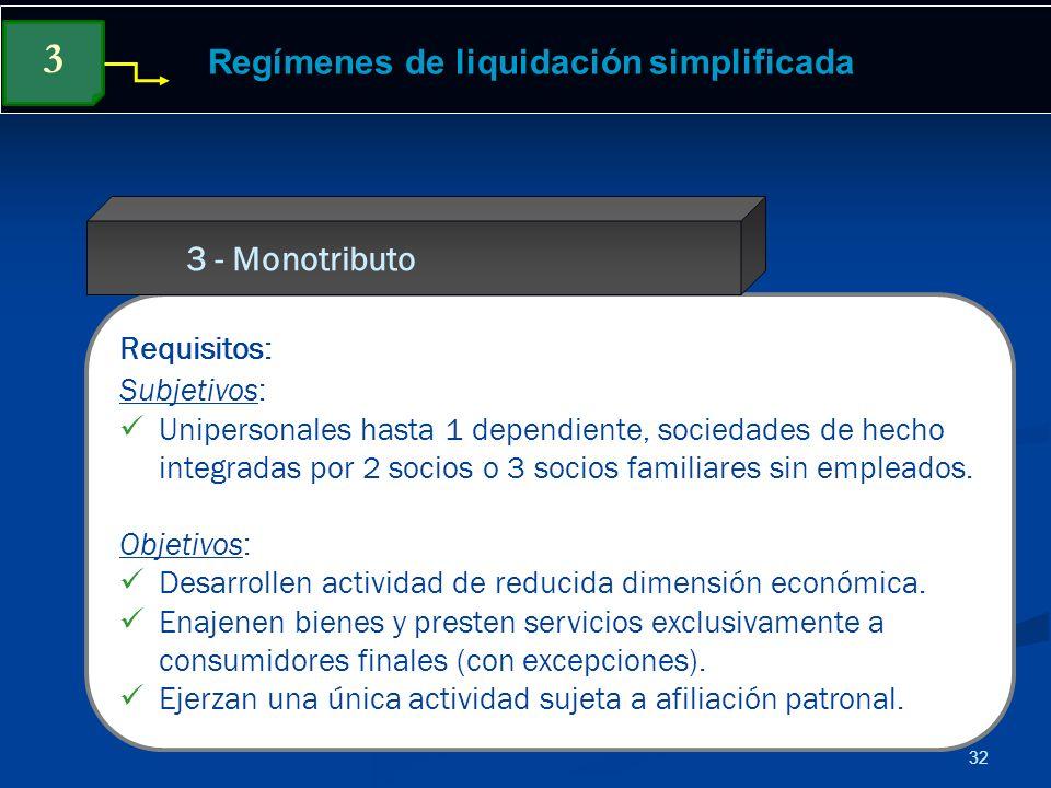 32 Regímenes de liquidación simplificada Requisitos: Subjetivos: Unipersonales hasta 1 dependiente, sociedades de hecho integradas por 2 socios o 3 so