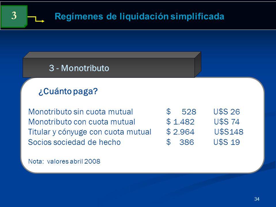 34 Regímenes de liquidación simplificada ¿Cuánto paga? Monotributo sin cuota mutual $ 528 U$S 26 Monotributo con cuota mutual $ 1.482 U$S 74 Titular y