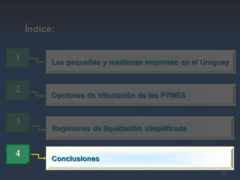 35 Las pequeñas y medianas empresas en el Uruguay 1 Índice: Índice: 3 Regímenes de liquidación simplificada Opciones de tributación de las PYMES 2 4 C