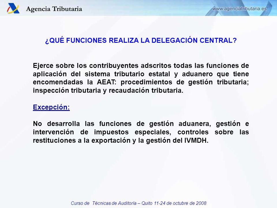 Curso de Técnicas de Auditoría – Quito 11-24 de octubre de 2008 ¿QUÉ FUNCIONES REALIZA LA DELEGACIÓN CENTRAL.