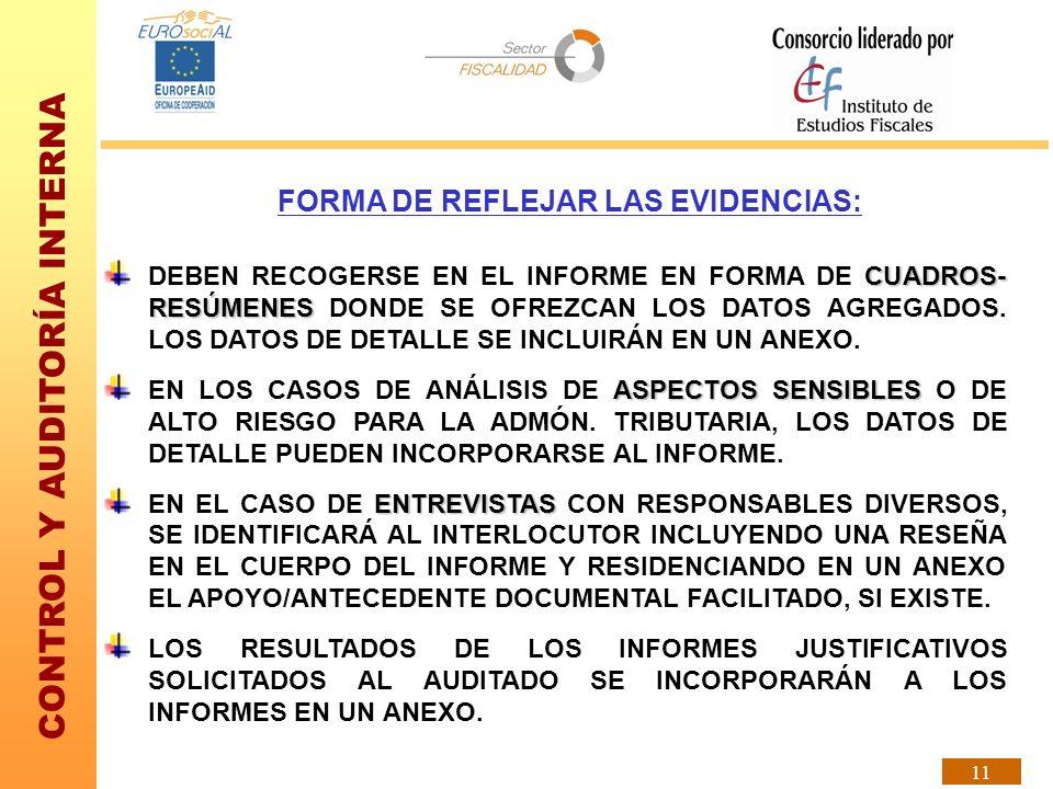 CONTROL Y AUDITORÍA INTERNA 11 FORMA DE REFLEJAR LAS EVIDENCIAS: CUADROS- RESÚMENES DEBEN RECOGERSE EN EL INFORME EN FORMA DE CUADROS- RESÚMENES DONDE