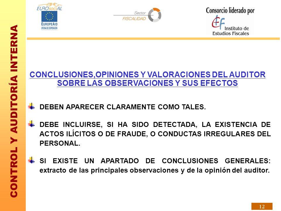 CONTROL Y AUDITORÍA INTERNA 12 CONCLUSIONES,OPINIONES Y VALORACIONES DEL AUDITOR SOBRE LAS OBSERVACIONES Y SUS EFECTOS DEBEN APARECER CLARAMENTE COMO