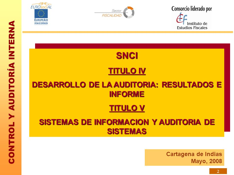 CONTROL Y AUDITORÍA INTERNA 2 SNCI TITULO IV DESARROLLO DE LA AUDITORIA: RESULTADOS E INFORME TITULO V SISTEMAS DE INFORMACION Y AUDITORIA DE SISTEMAS