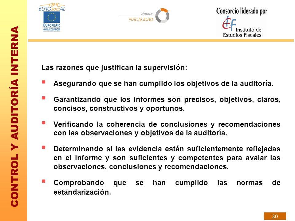 CONTROL Y AUDITORÍA INTERNA 20 Las razones que justifican la supervisión: Asegurando que se han cumplido los objetivos de la auditoría. Garantizando q