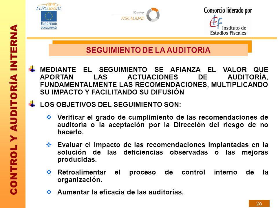 CONTROL Y AUDITORÍA INTERNA 26 SEGUIMIENTO DE LA AUDITORIA MEDIANTE EL SEGUIMIENTO SE AFIANZA EL VALOR QUE APORTAN LAS ACTUACIONES DE AUDITORÍA, FUNDA