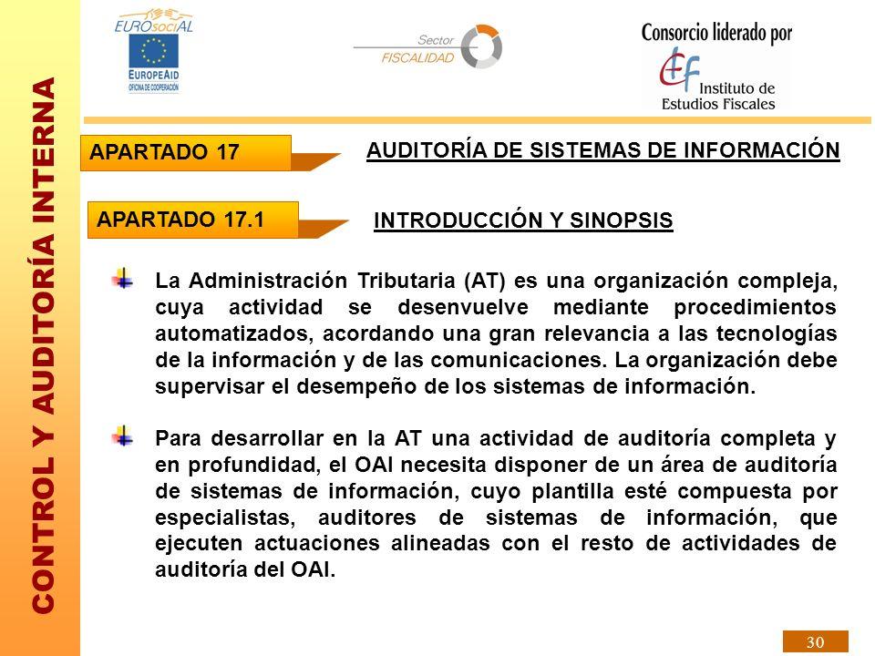 CONTROL Y AUDITORÍA INTERNA 30 La Administración Tributaria (AT) es una organización compleja, cuya actividad se desenvuelve mediante procedimientos a
