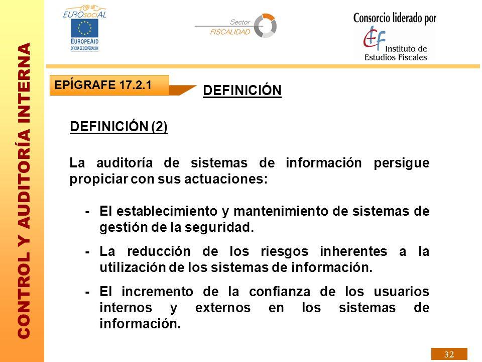 CONTROL Y AUDITORÍA INTERNA 32 DEFINICIÓN (2) EPÍGRAFE 17.2.1 DEFINICIÓN La auditoría de sistemas de información persigue propiciar con sus actuacione