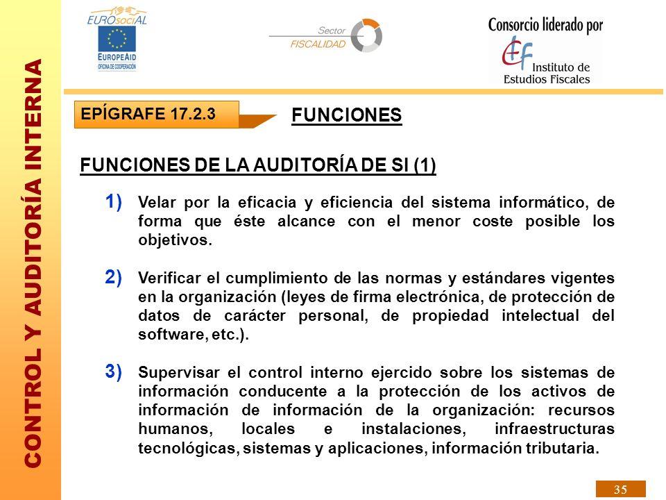 CONTROL Y AUDITORÍA INTERNA 35 EPÍGRAFE 17.2.3 FUNCIONES DE LA AUDITORÍA DE SI (1) 1) Velar por la eficacia y eficiencia del sistema informático, de f