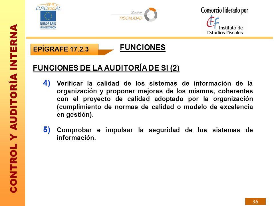 CONTROL Y AUDITORÍA INTERNA 36 EPÍGRAFE 17.2.3 FUNCIONES DE LA AUDITORÍA DE SI (2) 4) Verificar la calidad de los sistemas de información de la organi