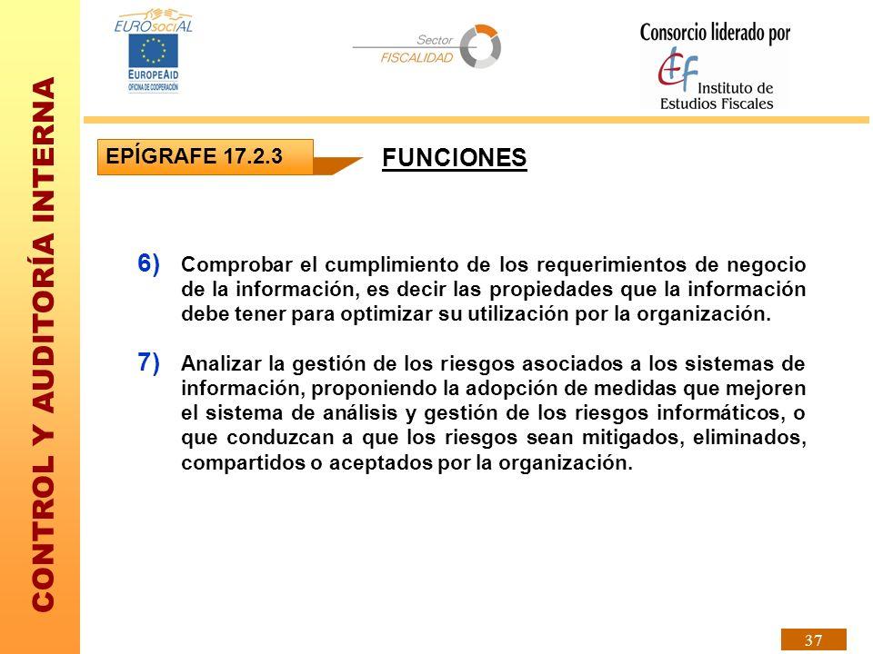 CONTROL Y AUDITORÍA INTERNA 37 EPÍGRAFE 17.2.3 6) Comprobar el cumplimiento de los requerimientos de negocio de la información, es decir las propiedad