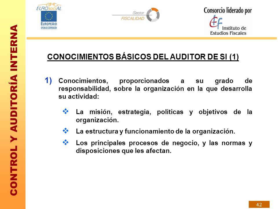 CONTROL Y AUDITORÍA INTERNA 42 CONOCIMIENTOS BÁSICOS DEL AUDITOR DE SI (1) 1) Conocimientos, proporcionados a su grado de responsabilidad, sobre la or