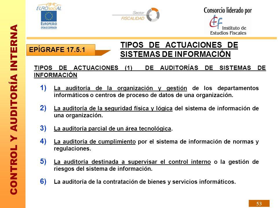 CONTROL Y AUDITORÍA INTERNA 53 EPÍGRAFE 17.5.1 TIPOS DE ACTUACIONES DE SISTEMAS DE INFORMACIÓN TIPOS DE ACTUACIONES (1) DE AUDITORÍAS DE SISTEMAS DE I