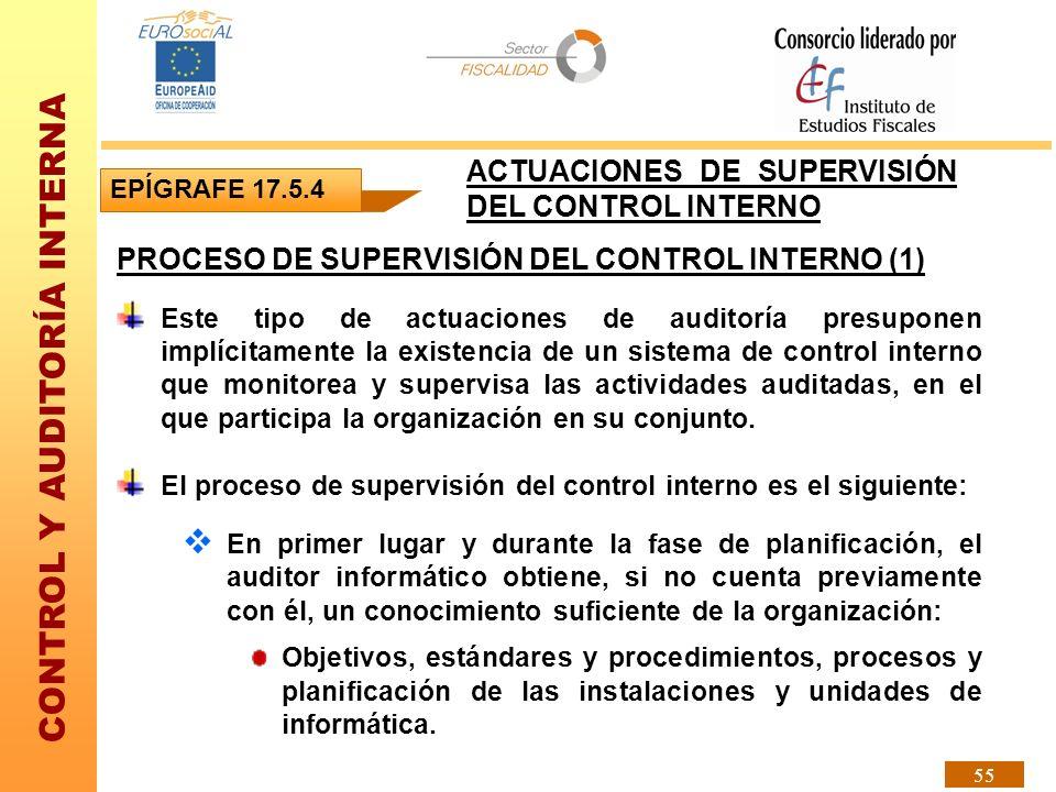 CONTROL Y AUDITORÍA INTERNA 55 PROCESO DE SUPERVISIÓN DEL CONTROL INTERNO (1) Este tipo de actuaciones de auditoría presuponen implícitamente la exist