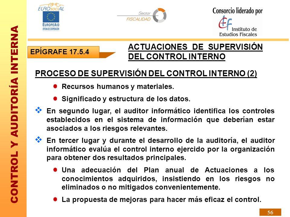CONTROL Y AUDITORÍA INTERNA 56 PROCESO DE SUPERVISIÓN DEL CONTROL INTERNO (2) Recursos humanos y materiales. Significado y estructura de los datos. En