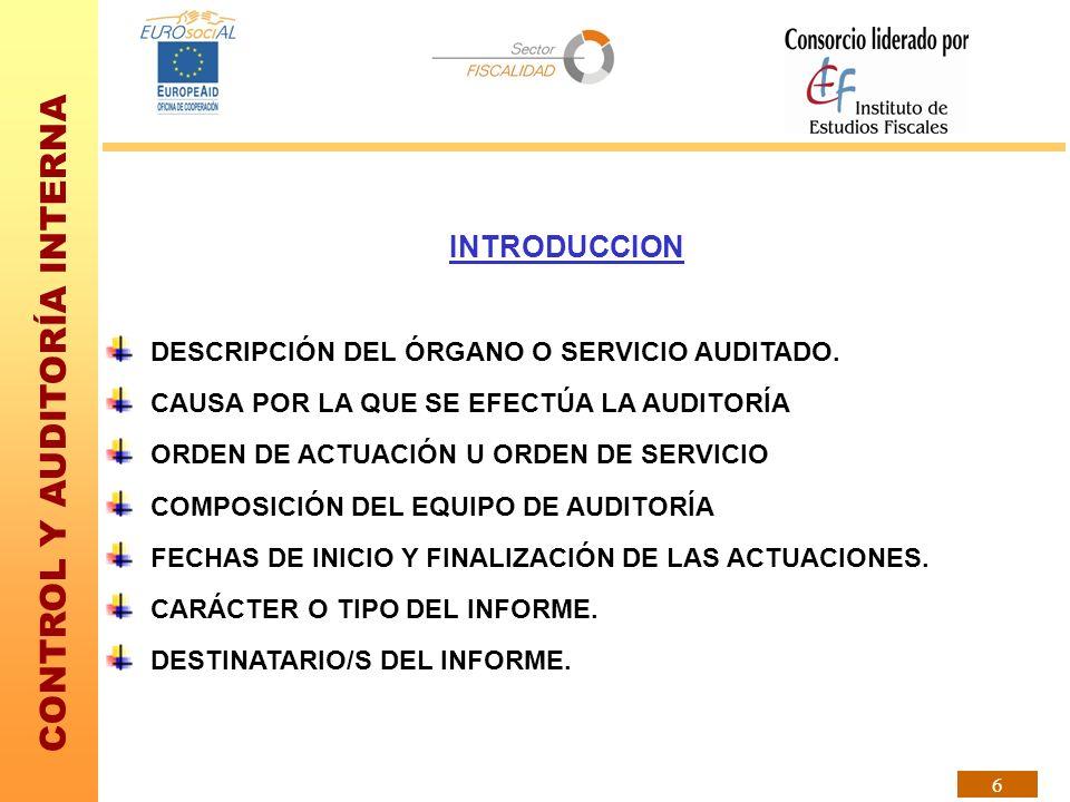 CONTROL Y AUDITORÍA INTERNA 17 RECOMENDACIONES EN GENERAL, LAS RECOMENDACIONES DEL OAI NO SON DE OBLIGADO CUMPLIMIENTO PARA EL AUDITADO.