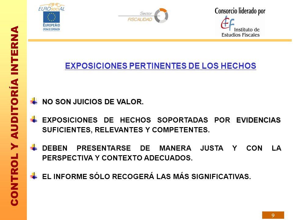 CONTROL Y AUDITORÍA INTERNA 9 EXPOSICIONES PERTINENTES DE LOS HECHOS NO SON JUICIOS DE VALOR. EVIDENCIAS EXPOSICIONES DE HECHOS SOPORTADAS POR EVIDENC
