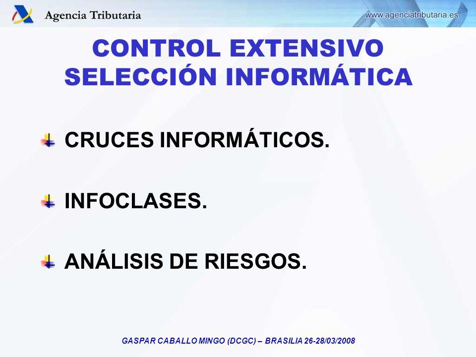 GASPAR CABALLO MINGO (DCGC) – BRASILIA 26-28/03/2008 CONTROL EXTENSIVO SELECCIÓN INFORMÁTICA CRUCES INFORMÁTICOS. INFOCLASES. ANÁLISIS DE RIESGOS.