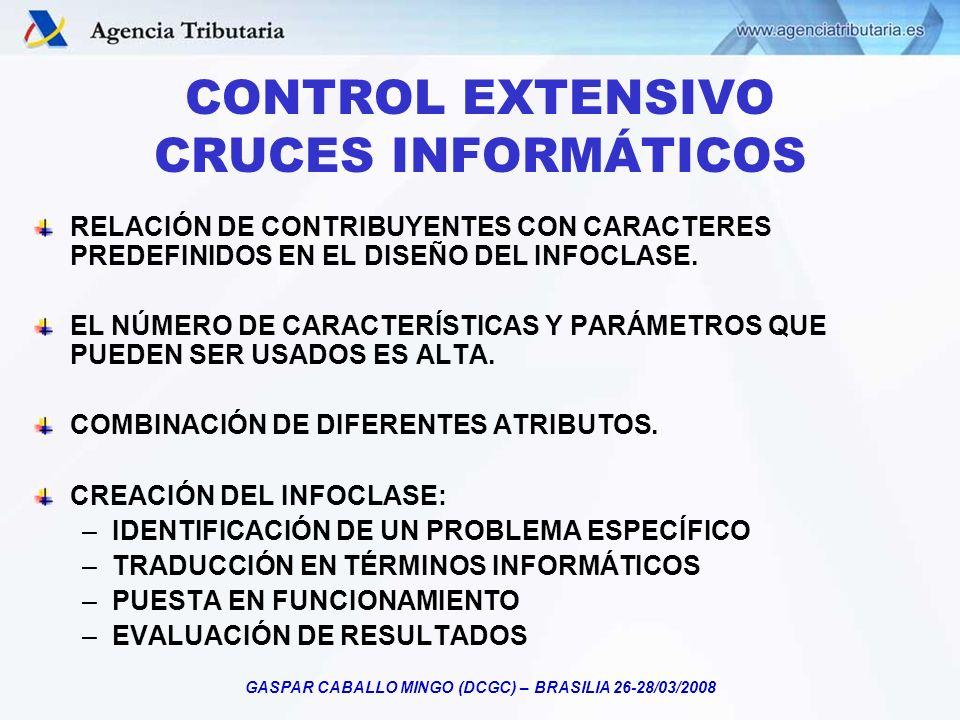 GASPAR CABALLO MINGO (DCGC) – BRASILIA 26-28/03/2008 CONTROL EXTENSIVO CRUCES INFORMÁTICOS RELACIÓN DE CONTRIBUYENTES CON CARACTERES PREDEFINIDOS EN E