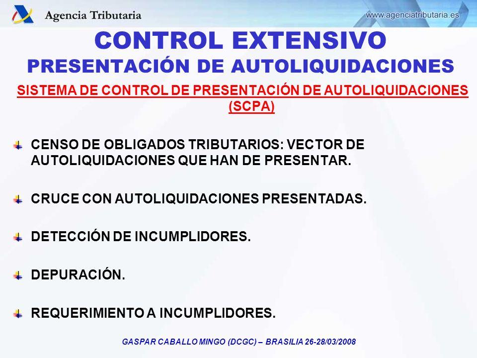 GASPAR CABALLO MINGO (DCGC) – BRASILIA 26-28/03/2008 CONTROL EXTENSIVO PRESENTACIÓN DE AUTOLIQUIDACIONES SISTEMA DE CONTROL DE PRESENTACIÓN DE AUTOLIQ