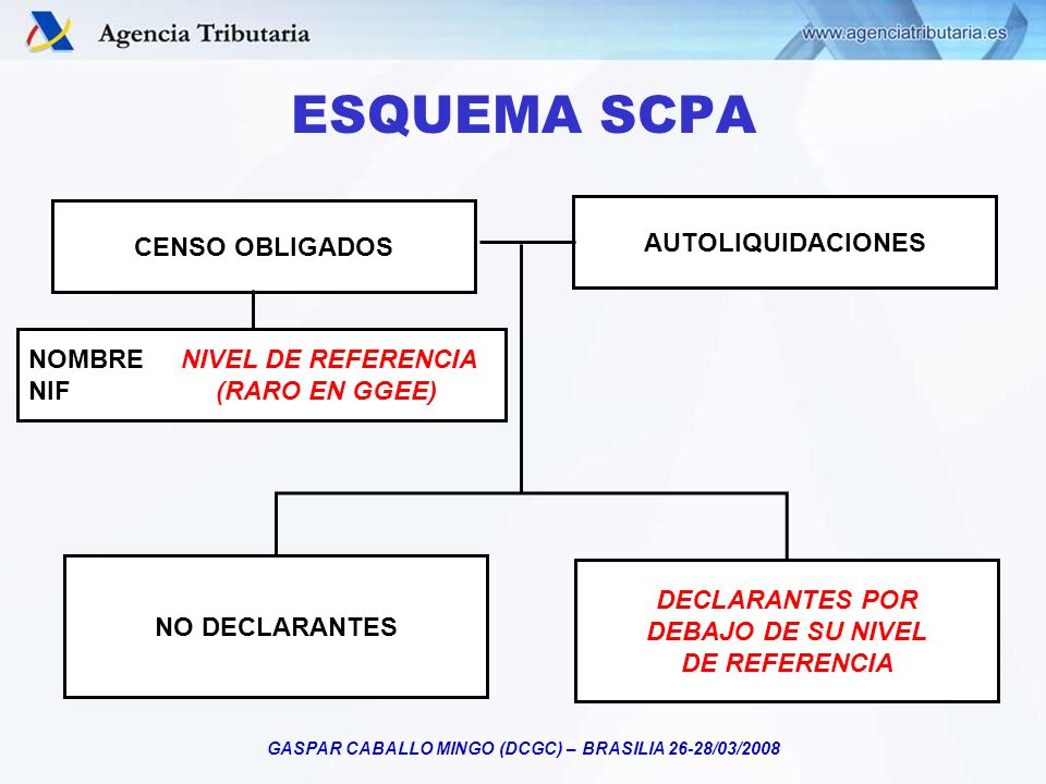 GASPAR CABALLO MINGO (DCGC) – BRASILIA 26-28/03/2008 CENSO OBLIGADOS NOMBRE NIVEL DE REFERENCIA NIF (RARO EN GGEE) AUTOLIQUIDACIONES NO DECLARANTES DE