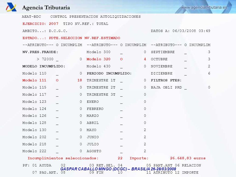 GASPAR CABALLO MINGO (DCGC) – BRASILIA 26-28/03/2008 AEAT-BDC CONTROL PRESENTACION AUTOLIQUIDACIONES EJERCICIO: 2007 TIPO NV.REF.: TOTAL AMBITO...: D.