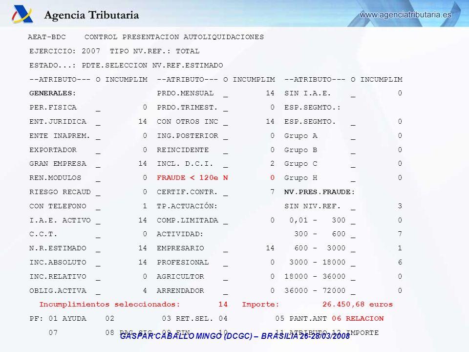GASPAR CABALLO MINGO (DCGC) – BRASILIA 26-28/03/2008 AEAT-BDC CONTROL PRESENTACION AUTOLIQUIDACIONES EJERCICIO: 2007 TIPO NV.REF.: TOTAL ESTADO...: PD