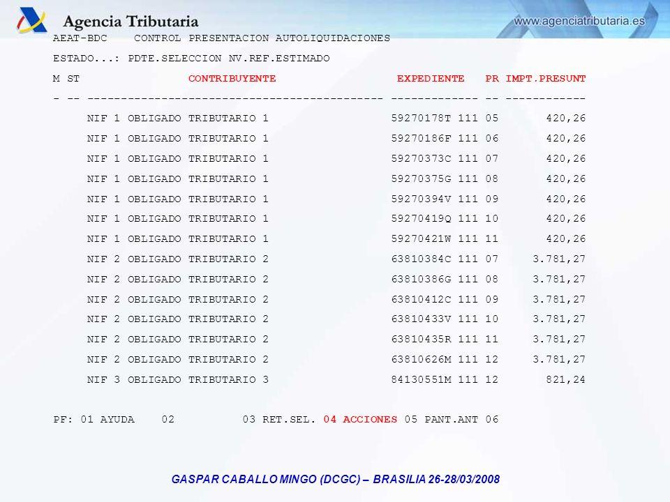 GASPAR CABALLO MINGO (DCGC) – BRASILIA 26-28/03/2008 AEAT-BDC CONTROL PRESENTACION AUTOLIQUIDACIONES ESTADO...: PDTE.SELECCION NV.REF.ESTIMADO M ST CO