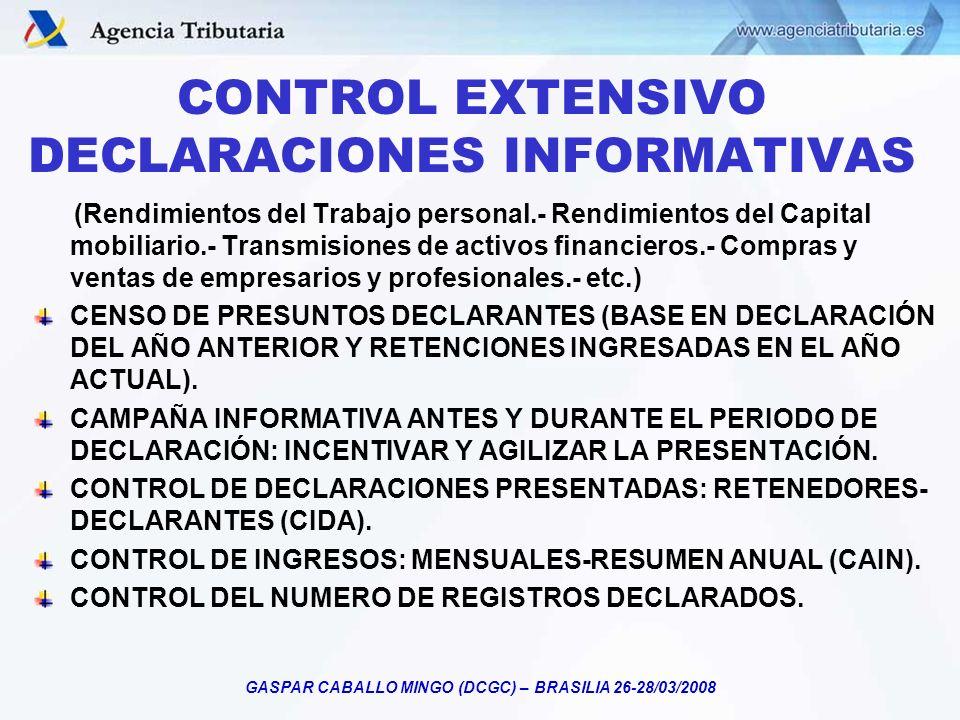 GASPAR CABALLO MINGO (DCGC) – BRASILIA 26-28/03/2008 CONTROL EXTENSIVO DECLARACIONES INFORMATIVAS (Rendimientos del Trabajo personal.- Rendimientos de