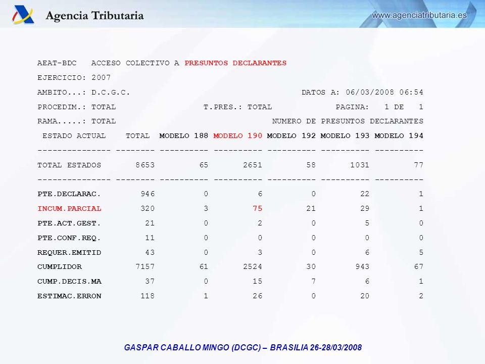 GASPAR CABALLO MINGO (DCGC) – BRASILIA 26-28/03/2008 AEAT-BDC ACCESO COLECTIVO A PRESUNTOS DECLARANTES EJERCICIO: 2007 AMBITO...: D.C.G.C. DATOS A: 06