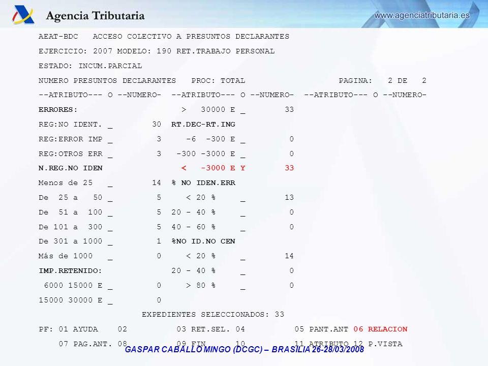 GASPAR CABALLO MINGO (DCGC) – BRASILIA 26-28/03/2008 AEAT-BDC ACCESO COLECTIVO A PRESUNTOS DECLARANTES EJERCICIO: 2007 MODELO: 190 RET.TRABAJO PERSONA