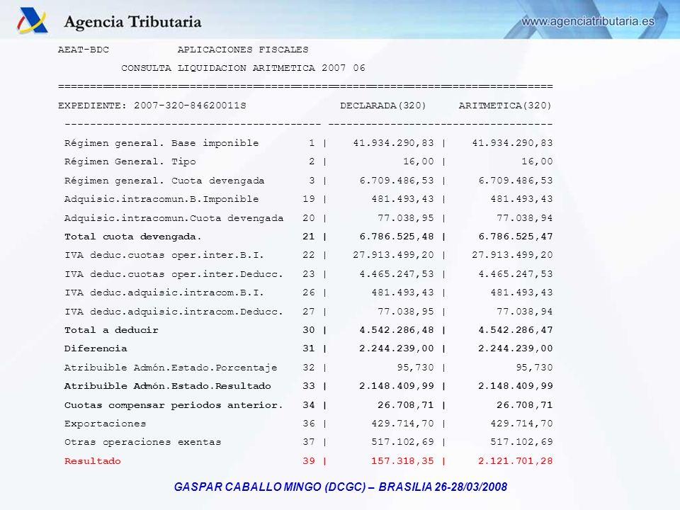 GASPAR CABALLO MINGO (DCGC) – BRASILIA 26-28/03/2008 AEAT-BDC APLICACIONES FISCALES CONSULTA LIQUIDACION ARITMETICA 2007 06 ==========================