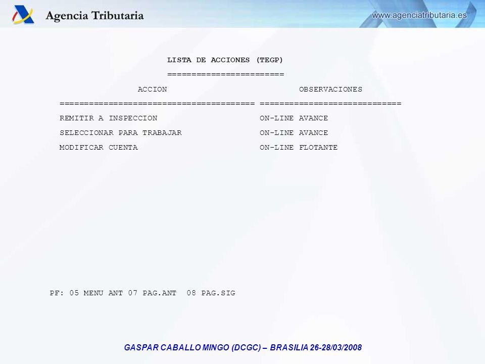 GASPAR CABALLO MINGO (DCGC) – BRASILIA 26-28/03/2008 LISTA DE ACCIONES (TEGP) ======================== ACCION OBSERVACIONES ==========================