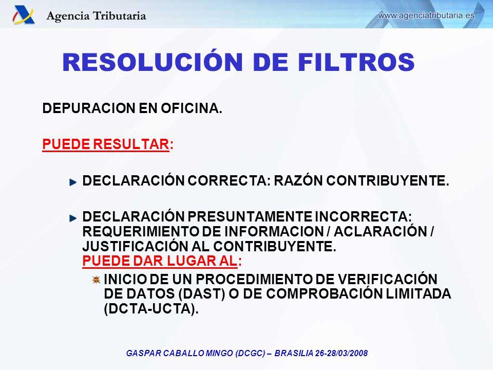 GASPAR CABALLO MINGO (DCGC) – BRASILIA 26-28/03/2008 DEPURACION EN OFICINA. PUEDE RESULTAR: DECLARACIÓN CORRECTA: RAZÓN CONTRIBUYENTE. DECLARACIÓN PRE