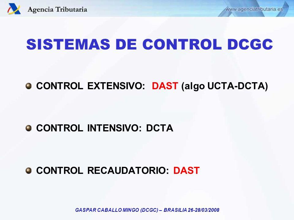 GASPAR CABALLO MINGO (DCGC) – BRASILIA 26-28/03/2008 SISTEMAS DE CONTROL DCGC CONTROL EXTENSIVO: DAST (algo UCTA-DCTA) CONTROL INTENSIVO: DCTA CONTROL