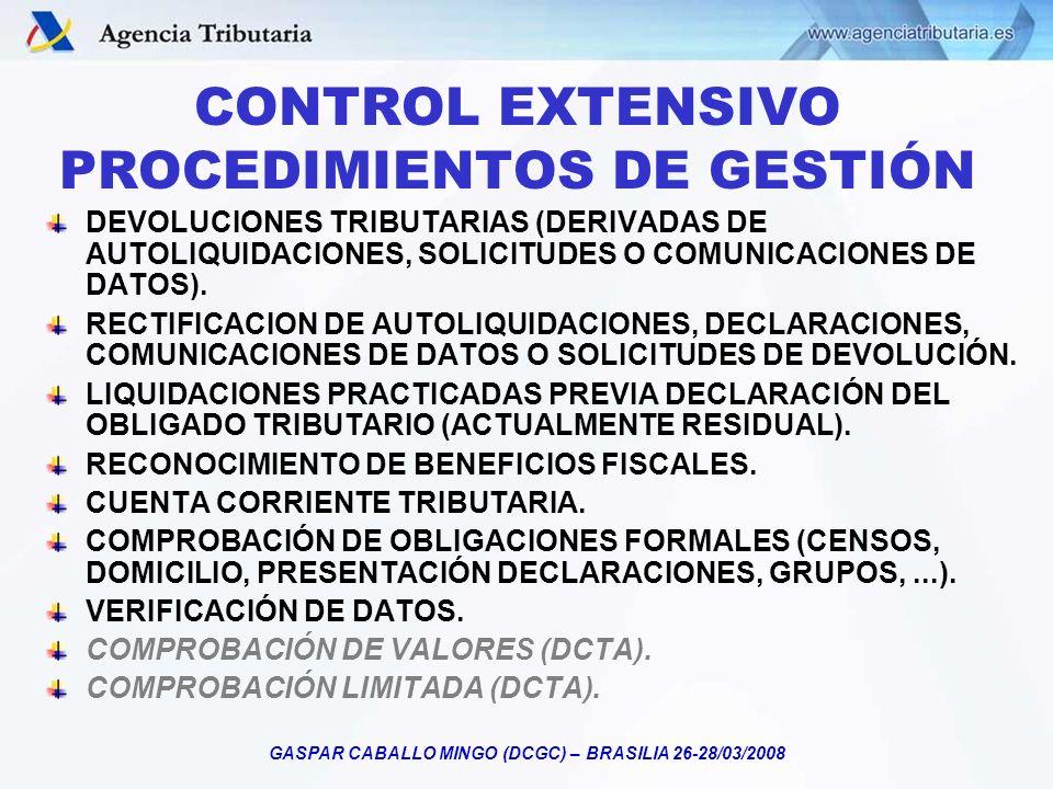 GASPAR CABALLO MINGO (DCGC) – BRASILIA 26-28/03/2008 CONTROL EXTENSIVO PROCEDIMIENTOS DE GESTIÓN DEVOLUCIONES TRIBUTARIAS (DERIVADAS DE AUTOLIQUIDACIO