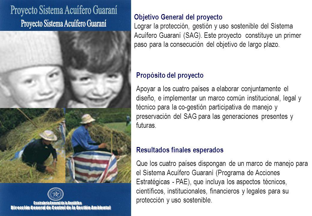 Objetivo General del proyecto Lograr la protección, gestión y uso sostenible del Sistema Acuífero Guaraní (SAG). Este proyecto constituye un primer pa
