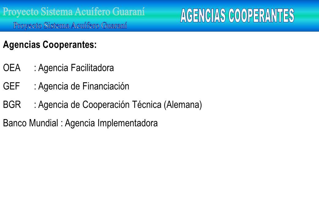 Agencias Cooperantes: OEA : Agencia Facilitadora GEF: Agencia de Financiación BGR: Agencia de Cooperación Técnica (Alemana) Banco Mundial : Agencia Im