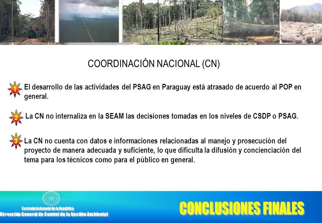 El desarrollo de las actividades del PSAG en Paraguay está atrasado de acuerdo al POP en general. 1 La CN no cuenta con datos e informaciones relacion