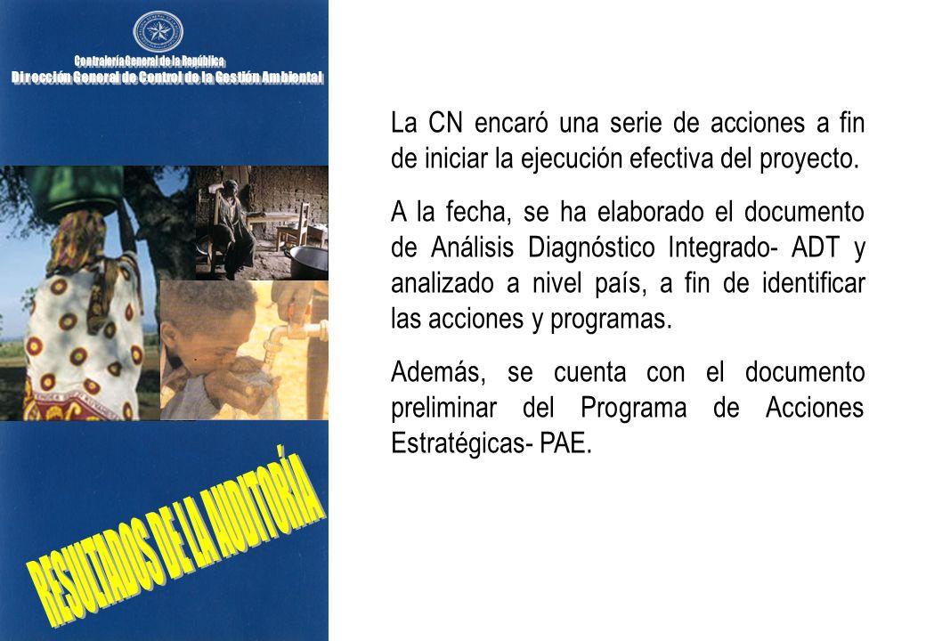 La CN encaró una serie de acciones a fin de iniciar la ejecución efectiva del proyecto. A la fecha, se ha elaborado el documento de Análisis Diagnósti