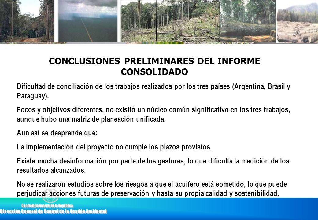 CONCLUSIONES PRELIMINARES DEL INFORME CONSOLIDADO Dificultad de conciliación de los trabajos realizados por los tres países (Argentina, Brasil y Parag